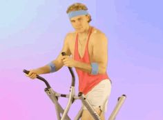 Patrick Kane of the Chicago Blackhawks on an elliptical in 80s work out clothes.