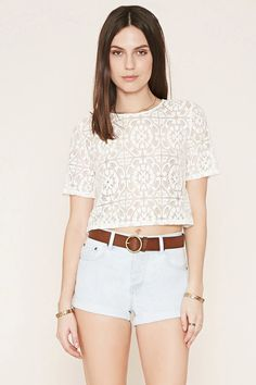 Cuffed Denim Shorts #f21denim