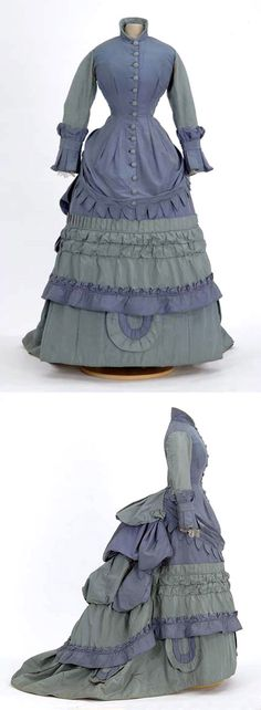 Day dress, Mary Worley, St. Paul, MN (attr.), ca. 1875. Blue & teal silk taffeta in one piece. Apron-draped bodice with center front self-button closure, Sleeves are full length, two-piece coat sleeves with box pleated cuffs. Hem of bodice apron is Van Dyked (dagged). Minnesota Historical Society