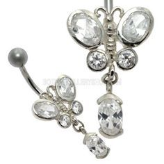 Buy now at www.bodyjewelleryshop.com - Jewelled Silver Belly Bar - Butterfly Dangle. We have the largest variety of bananabells you'll find! #bananabell #piercings #bodyjewellery @piercedfashion