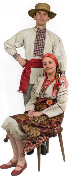 Чоловіча та жіноча сорочка степової зони - love the high-waisted apron and natural linen of this folkwear.