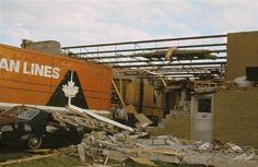 1970 Allied Vans Warehouse - Sudbury Tornado. Photo by R. Orville Lyttle copyrite