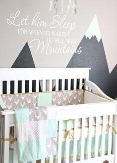 Caden Lane S Woodland Deer Baby Bedding In Reyn Mint Gray Nursery