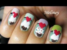 candy Cupcake Nails design nail art tutorial cute heart vintage meliney video