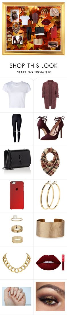 """Fall Lovin"" by alexis-kitten on Polyvore featuring RE/DONE, WearAll, Massimo Matteo, Yves Saint Laurent, Charlotte Russe, Pieces, Miss Selfridge, Panacea, House of Harlow 1960 and Lime Crime"
