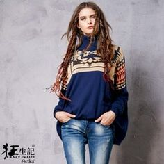 Sang Kee mad wild winter new retro geometric jacquard loose pullover female YB15951Q