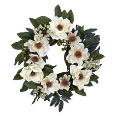 David Shaw Silverware NA LTD 22 Magnolia Wreath, White