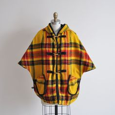Vintage SAFFRON Plaid Cape Coat by MariesVintage on Etsy