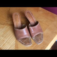 Franco Sarto Arizona Wedge in luggage SZ8M Some wear on sole but top is in great shape. Very neutral color that goes with many things. Franco Sarto Shoes Sandals
