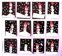 Snowmen at Night - Finally use all the black construction paper we accumulated.