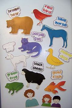 "Brown Bear, Brown Bear  ""I always read and do activities for Brown Bear, Brown Bear the first week or two of the school year. Here are some of the things I will be doing.  I printed them on cardstock, laminated them and put a magnetic on the back."""