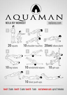 By neila rey - aquaman workout Fitness Herausforderungen, Planet Fitness Workout, Mens Fitness, Fitness Plan, Fitness Workouts, Physical Fitness, Hero Workouts, At Home Workouts, Workout Schedule