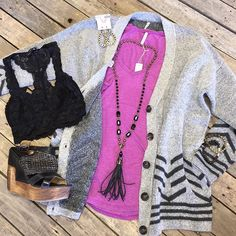 """#NEWARRIVALS  #Chevron #ButtonUp #sweater $56.99 (S&M) #ZSupply #pocket #tee $24.99 (XS-L)  #Black #lace #bra $24.99 #PinkPanache #necklace $76.99 PinkPanache #earrings $28.99 #GSpinelli #bracelets $25 each  #Bedstu #wedges $152.99  We #ship! Call to order! 903.322.4316 #shopdcs #goshopdcs #shoplocal #love"" Photo taken by @daviscountrystore on Instagram, pinned via the InstaPin iOS App! http://www.instapinapp.com (01/20/2016)"