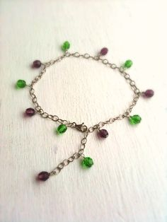 Sterling Silver Beaded Anklet on Etsy, $32.00