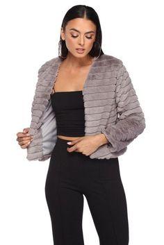 Gray Faux Fur Striped Jacket   WindsorCloud