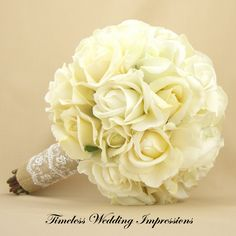 Rustic Bridal Bouquet Burlap Lace Roses & Rosebuds. Real Touch Silk Wedding Flowers White Cream Ivory