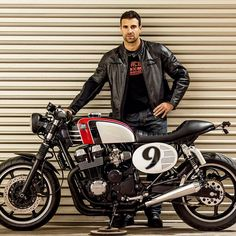 "Manolo and his Macco Motors Honda ""Spitfire"". Happy and lucky man. #macco #honda #cb750 #cb #cbfour #sevenfifty #nighthawk #caferacer #bratstyle #scrambler #lifestyle #loveforbikes #maccomotors"