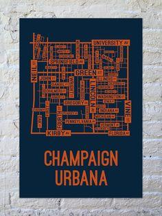 Champaign Urbana, Illinois Street Map Print from School Street Posters
