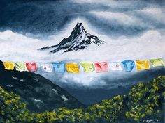 Small Canvas Art, Mini Canvas Art, Flag Painting, Gouache Painting, Nepal Tattoo, Nepal Flag, Nepal Art, Gas Mask Art, Flag Art