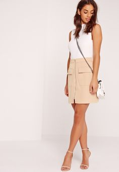 Zip Front Pocket Detail Mini Skirt Nude - Missguided
