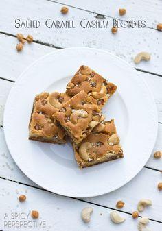 Salted Caramel Cashew Blondies Recipe | ASpicyPerspective.com #blondies #bars #saltedcaramel