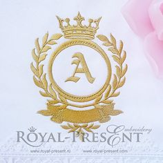 Machine Embroidery Design Gold Vignette with crown - 2 sizes