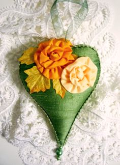 Heart, Sachet, Dupioni Silk, Flower, French Lanender, Gift, Present, Green, Orange, Peach