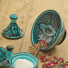 Handmade Moroccan ceramics decorated with traditional patterns from Safi, the capital of the Doukkala-Abda region, famed for its pottery.