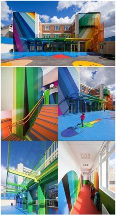 Rainbow Ecole Maternelle Pajol kindergarten school in Paris by architects Palatre & Leclère