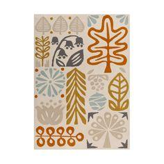 Warm Retro Autumn Area Rug | dotandbo.com 8 x 10 100% Wool, $1808. Living Room