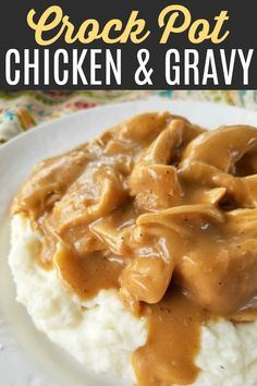 Crock Pot Chicken & Gravy - - An easy and delicious slow cooker recipe for tender chicken with savory gravy perfect served over mashed potatoes, noodles or rice. Healthy Crockpot Recipes, Slow Cooker Recipes, Gourmet Recipes, Cooking Recipes, Dinner Recipes, Soup Recipes, Crockpot Meals, Recipies, Chicken Recipes For Dinner