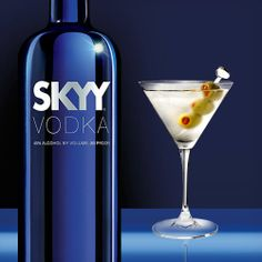 SKYY Vodka 1 dash Cinzano Dry Vermouth 1 dash Cinzano Sweet Vermouth Chill glass and shaker. Combine ingredients with ice in the shaker. Shake well (for at least 10 seconds). Strain martini into the glass over an olive. Vodka Alcohol, Skyy Vodka, Perfect Martini, Beverages, Drinks, Cocktail Recipes, Vodka Bottle, Shake, Ice