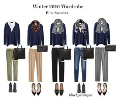 Winter 2016 Wardrobe - Blue Sweater by bluehydrangea on Polyvore featuring Boden, Banana Republic, J.Crew, 7 For All Mankind, Madewell, Dr. Scholl's, Sam Edelman, Marc by Marc Jacobs, MANGO and Echo