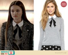Emma's grey collared bow sweater on Red Band Society. Outfit Details: http://wornontv.net/37536/ #RedBandSociety