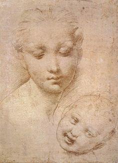 RAFFAELLO Sanzio Study of Heads, Mother and Child 1509-11 Silverpoint, 143 x 110 mm