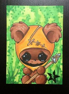 Ewok Wicket from Star Wars by Michael Banks (Sugar Fueled) Emo, Horror, Creepy Art, Gothic Art, Art Plastique, Big Eyes, Halloween, Cute Drawings, Anime Manga