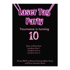 Schön Laser Tag Party Pink Invitation