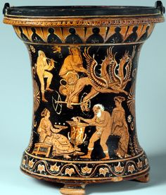 situla from the Metropolitan Museum, Apulian, by the Lycurgus painter 360-40 BC