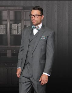 STATEMENT CLASSIC MEN'S 3PC PLAID OLIVE SUIT,  PLEATED PANTS+FREE BOWTIE  #STATEMENTTZ901 #DoubleBreasted