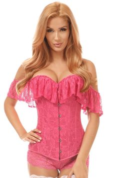 20b97dab077 Daisy Corsets Lavish Pink Lace Off-The-Shoulder Corset. Unspoken Fashion