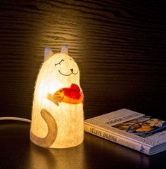 "Lamp ""Cat with golden fish"", height - 17 cm, wet felting, embroidery, needle felting, made by Tilatila"