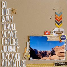 Travel hike adventure scrapbook page