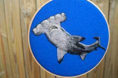 Hammerhead Shark Needle Felted Wool Painting by GoodNaturedByDani