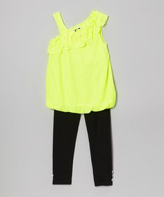 Look what I found on #zulily! Diva Neon Yellow Ruffle Tunic & Leggings - Infant, Toddler & Girls by Diva #zulilyfinds