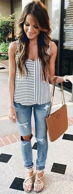 #summer #lovely #fashion   Stripes + Denim