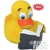 Reader Rubber Duck Bath Toy - Natural Latex Rubber - No Phthalates or BPA by Rich Frog. $10.59. Reader Duck is designed for kids ages 3+ years old. The classic natural rubber duck, with book in tow, is the perfect playtime toy for young children and adults alike! However, due to small parts that could pose a choking hazard, it is NOT recommended for children under the age of 3. Who said you couldn't read in the tub?