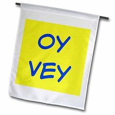 Oy Vey Blue Lettering on A Yellow Background Garden Flag 18x27in Outdoor Flag
