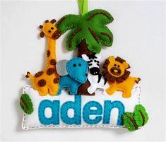 Safari - Made-to-order personalised felt name banner / plaque, nursery decoration, Perth Felt Name Banner, Name Banners, Felt Bunting, Name Decorations, Handmade Decorations, Handmade Felt, Handmade Items, Felt Giraffe, Felt Crafts