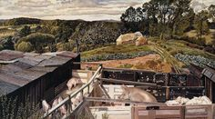 """""""Rickett's Farm, Cookham Dene"""" by Stanley Spencer, 1938"""