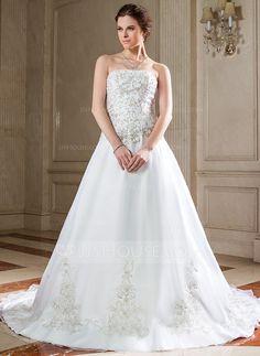 Wedding Dresses - $227.99 - A-Line/Princess Strapless Chapel Train Organza Wedding Dress With Embroidery Beading Sequins (002000271) http://jjshouse.com/A-Line-Princess-Strapless-Chapel-Train-Organza-Wedding-Dress-With-Embroidery-Beading-Sequins-002000271-g271